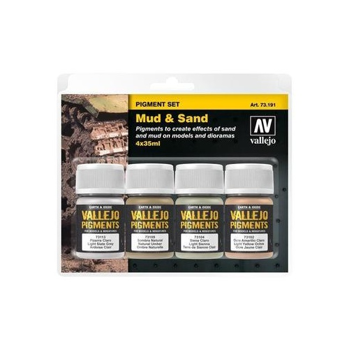 VALLEJO 73191 PIGMENTS SET MUD & SAND 4 X 35ML